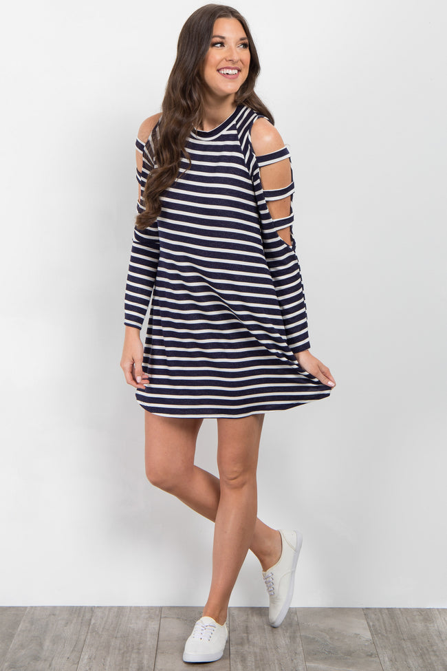 Navy Striped Cutout Shoulder Dress