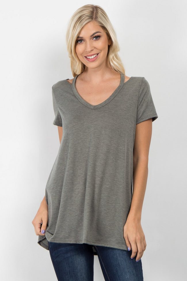 Olive Cutout Short Sleeve Top