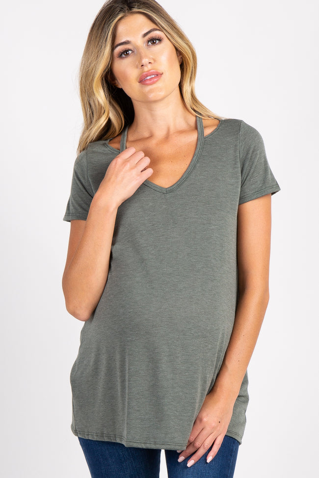 Olive Cutout Short Sleeve Maternity Top