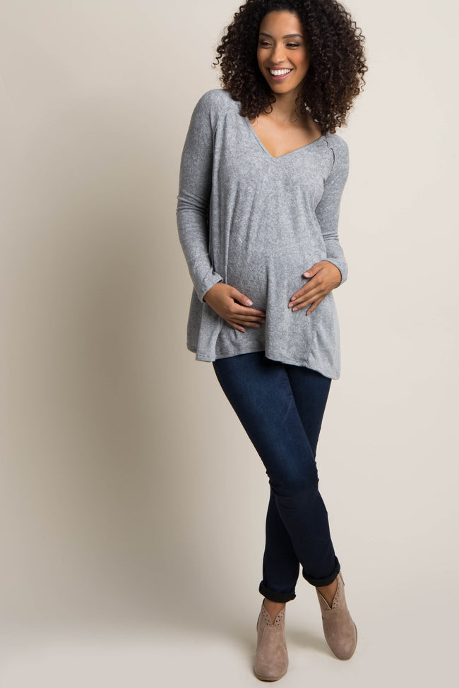 Heather Grey Long Sleeve Maternity Sweater