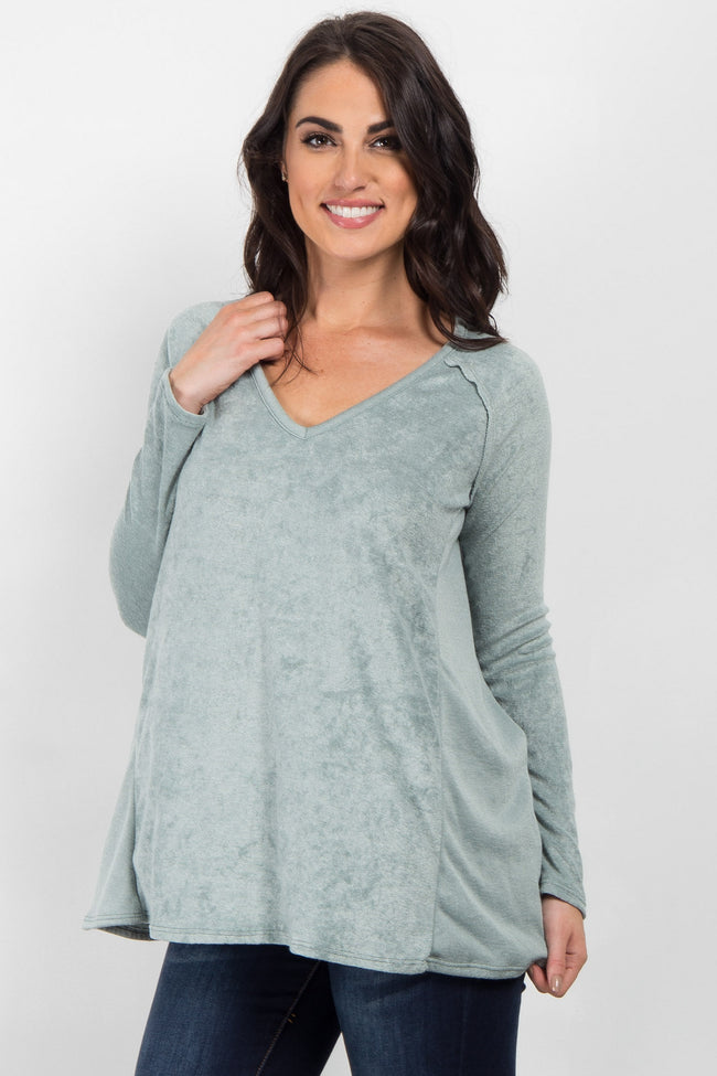 Light Olive Long Sleeve Maternity Sweater