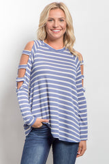 Blue Striped Cutout Shoulder Top