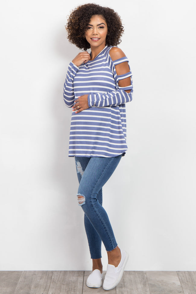 Blue Striped Cutout Shoulder Maternity Top