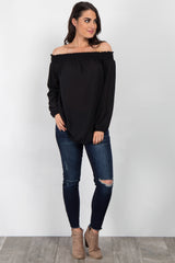 Black Off Shoulder Chiffon Top