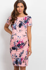 PinkBlush Pink Floral Fitted Short Sleeve Maternity Dress