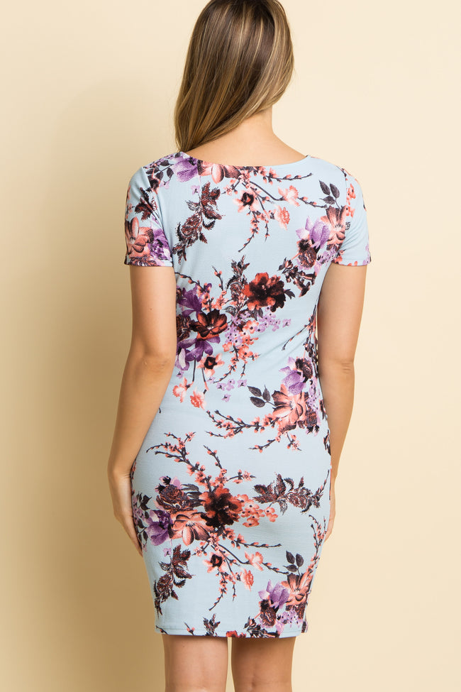 PinkBlush Blue Floral Fitted Short Sleeve Maternity Dress
