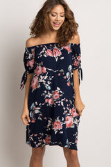 Navy Rose Floral Off Shoulder Sleeve Tie Dress