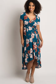Blue Floral Hi-Low Sash Tie Maternity Dress