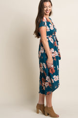 Blue Floral Hi-Low Sash Tie Dress