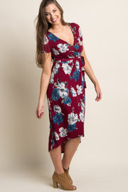 Burgundy Floral Hi-Low Sash Tie Dress