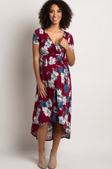 Burgundy Floral Hi-Low Sash Tie Maternity Dress