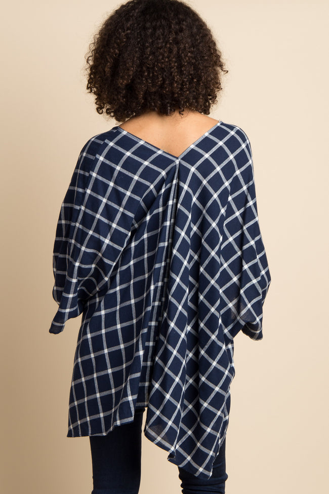 Navy Blue Plaid Print Maternity Cover Up