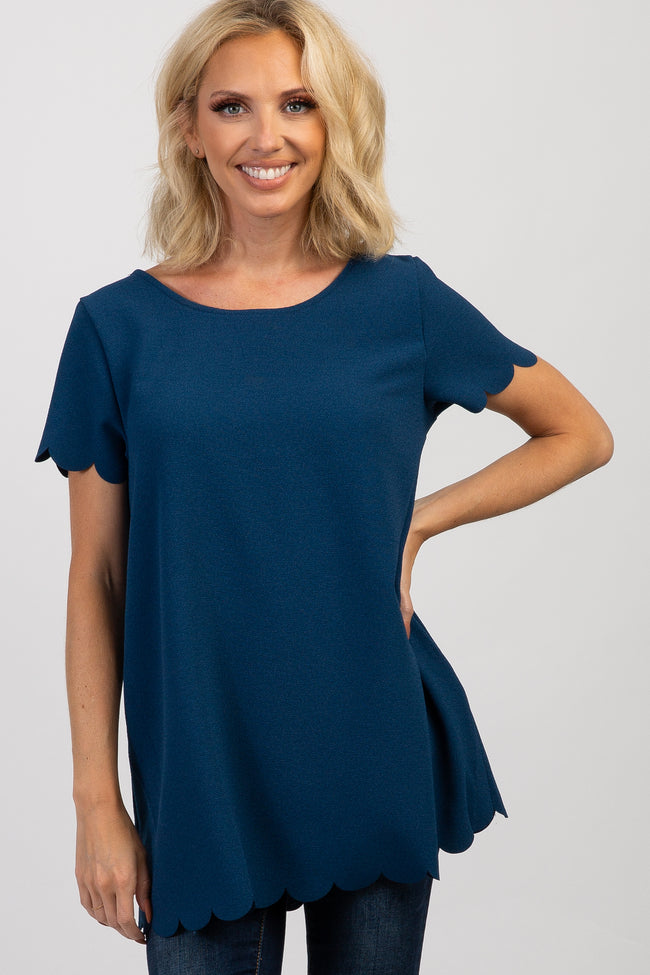 PinkBlush Navy Blue Solid Scalloped Hem Top