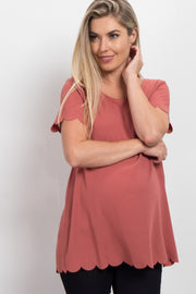 Rust Solid Scalloped Hem Maternity Top
