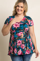 Teal Floral Wrap Plus Maternity Top