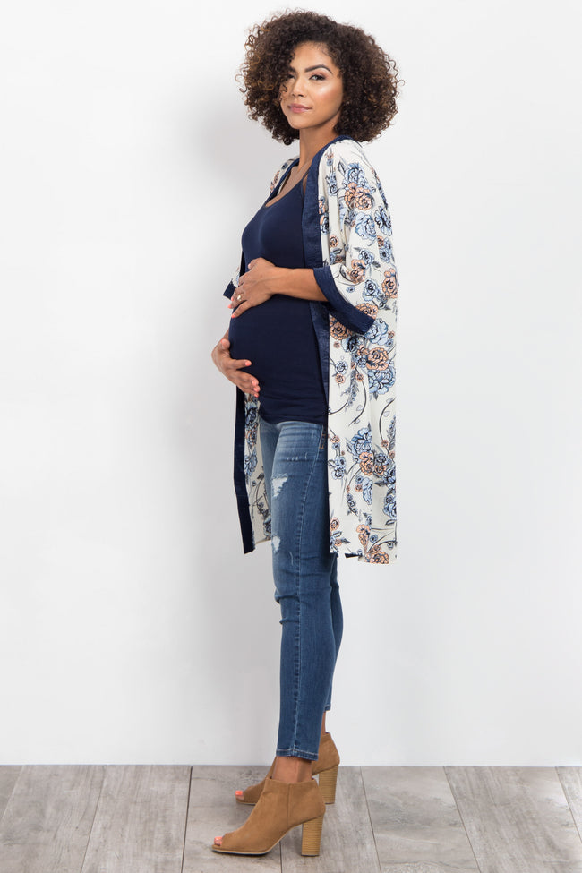 Ivory Floral Solid Trim Maternity Kimono