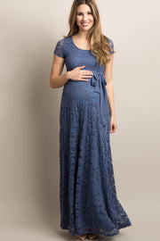 Blue Lace Sash Tie Maternity Gown