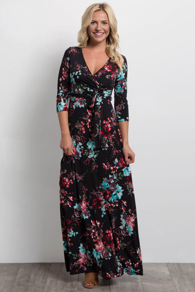 Red Aqua Floral Sash Tie Maxi Dress