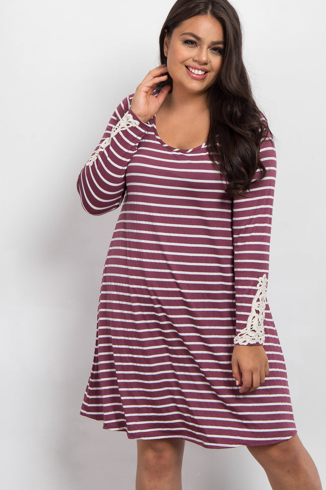 Burgundy Striped Crochet Sleeve Plus Maternity Dress