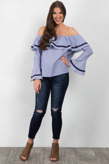 Blue Off Shoulder Ruffle Trim Top