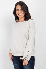 Cream Sleeve Tie Accent Sweater