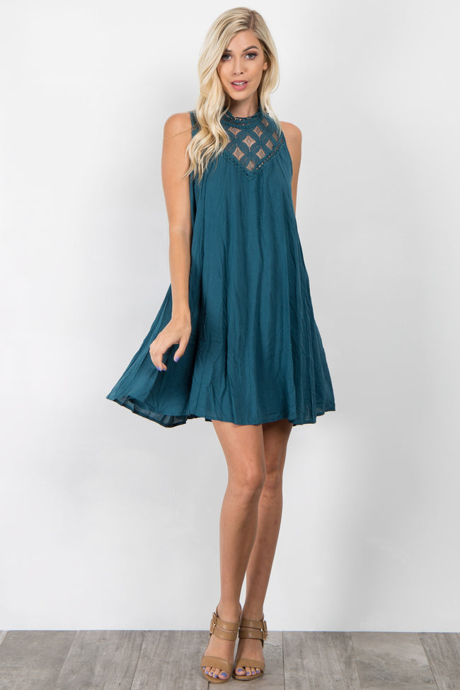 Teal Crochet Neck Sleeveless Dress