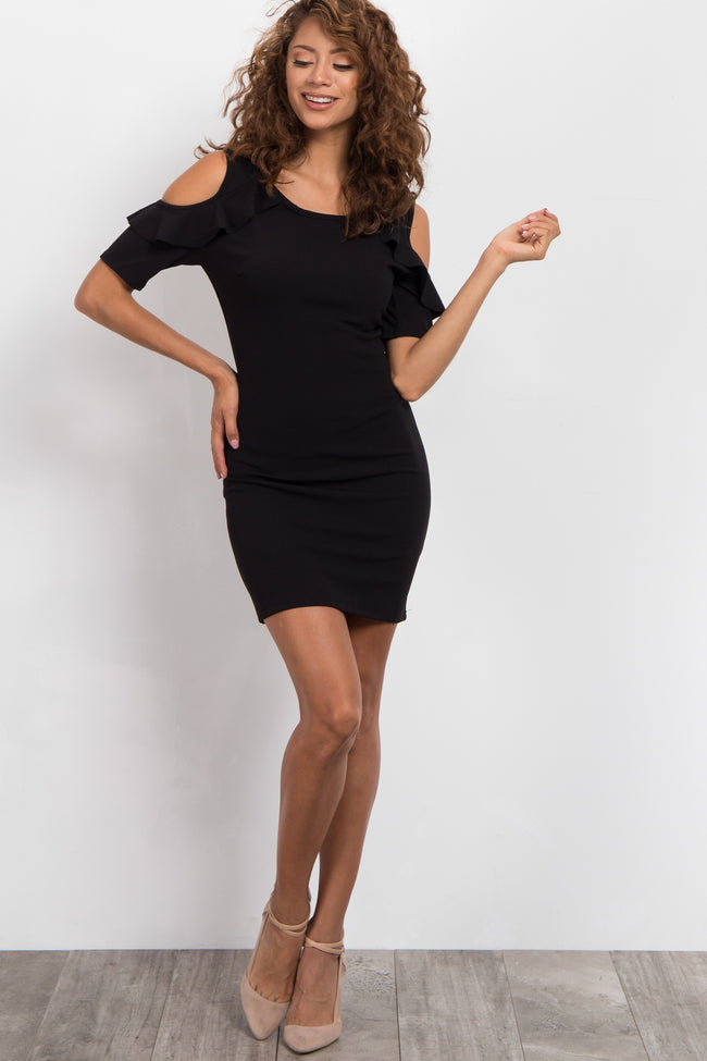 Black Ruffle Cold Shoulder Fitted Dress