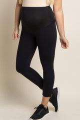 PinkBlush Black Lace-Up Side Active Maternity Capri Leggings