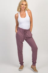 Burgundy Faded Drawstring Joggers