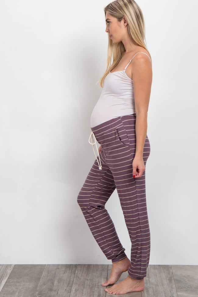 Mauve Striped Cuffed Maternity Pajama Pants