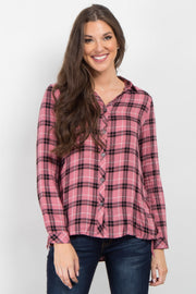 Pink Plaid Lace-Up Side Button Up Top
