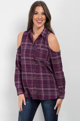 Purple Plaid Cold Shoulder Button Up Top