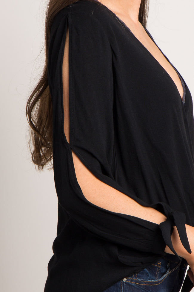 Black Solid Sleeve Tie Wrap Hem Top