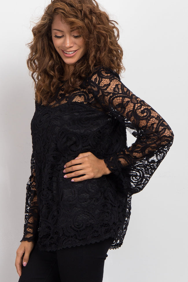 Black Lace Overlay Long Sleeve Top