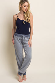 Blue Soft Knit Drawstring Lounge Pants