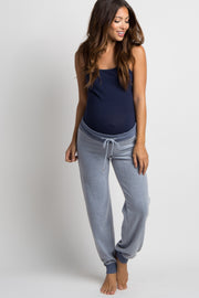 Blue Soft Knit Drawstring Maternity Lounge Pants