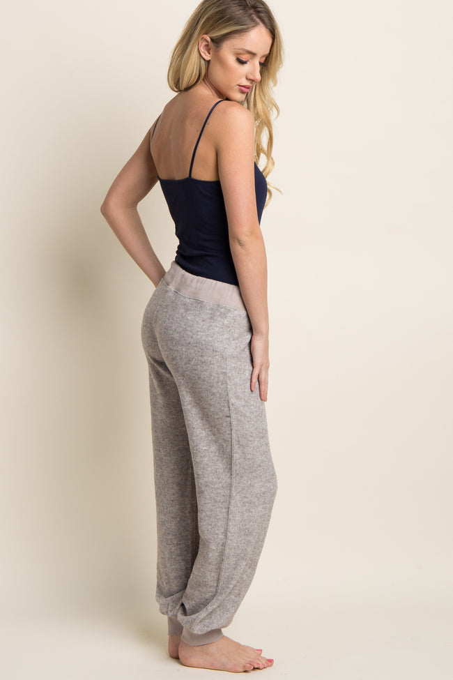 Taupe Soft Knit Drawstring Lounge Pants