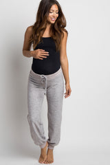 Taupe Soft Knit Drawstring Maternity Lounge Pants