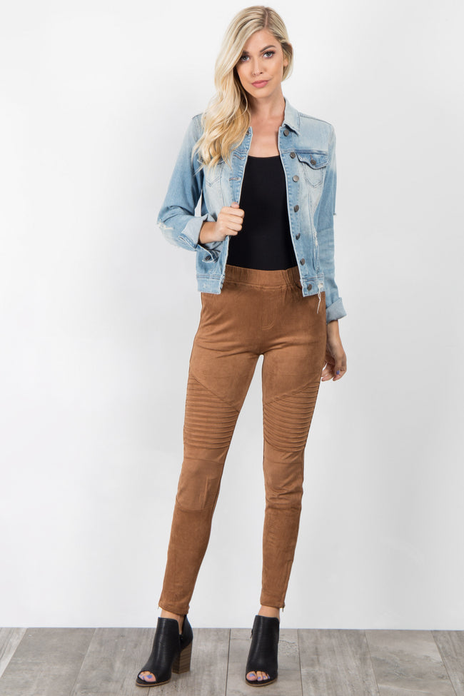 Camel Faux Suede Ribbed Leggings
