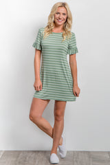 Green Striped Ruffle Sleeve Dress