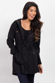 Black Hooded Cinched Utility Jacket
