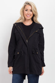 Black Hooded Cinched Maternity Utility Jacket