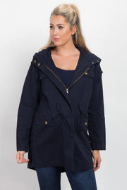 Navy Blue Hooded Cinched Maternity Utility Jacket