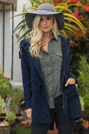 Navy Blue Hooded Cinched Utility Jacket