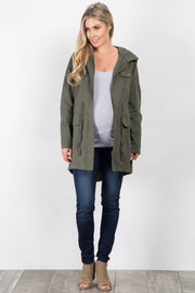 Olive Hooded Cinched Maternity Utility Jacket