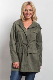 Olive Hooded Cinched Utility Jacket