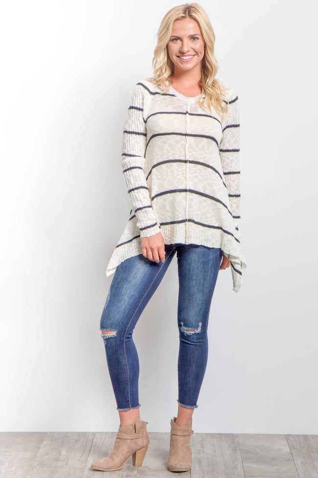 Cream Striped Long Sleeve Knit Sweater