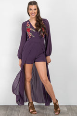 Purple Embroidered Chiffon Skirt Overlay Romper