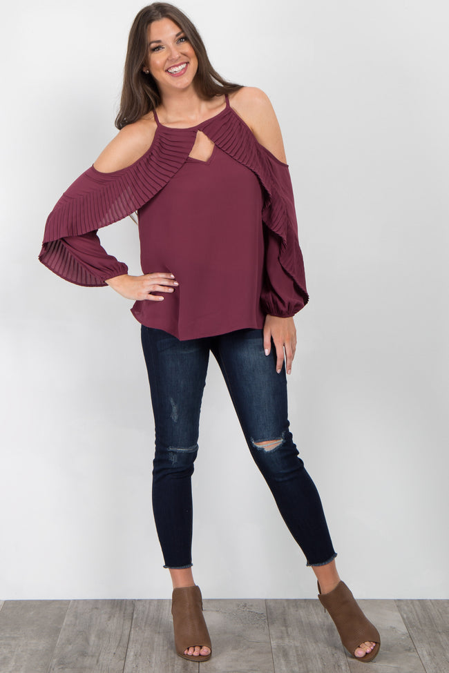 Burgundy Pleated Chiffon Cold Shoulder Top