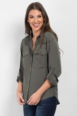 Olive Solid Button Up Top